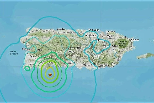 A 5.8-magnitude earthquake jolted Puerto Rico early Monday morning. Photo courtesy U.S. Geological Survey.