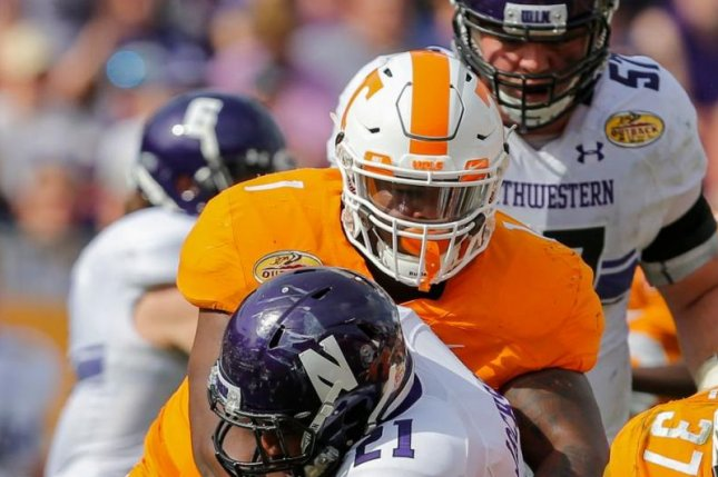 Tennessee Vols defensive lineman Kahlil McKenzie (1) makes a tackle during a game against Northwestern on January 1, 2016 during the Outback Bowl in Tampa, Florida. McKenzie could be a candidate to be selected by the Houston Texans in some mock drafts. Photo courtesy of Tennessee Football/Twitter
