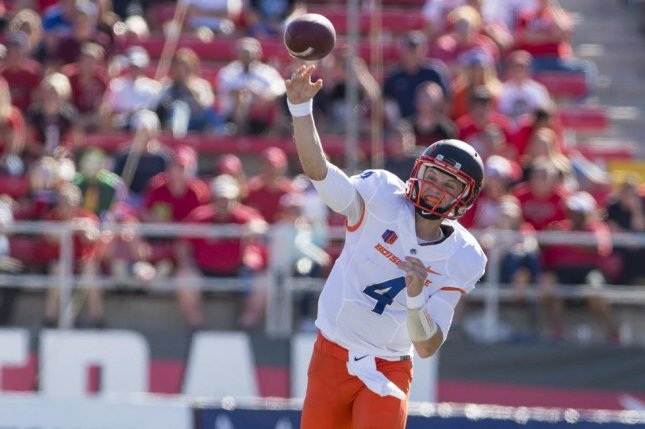 Led by the record-setting tandem of quarterback Brett Rypien (pictured) and halfback Alexander Mattison, Boise State has won the last two contests against Fresno State. Photo courtesy of Boise State Football/Twitter