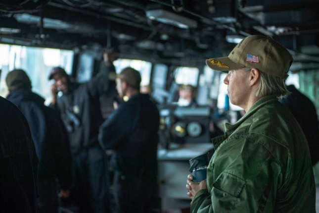 Capt. Amy Braunschmidt, R, will be the first woman in the U.S. Navy to command an aircraft carrier. Photo courtesy of U.S. Navy/Facebook