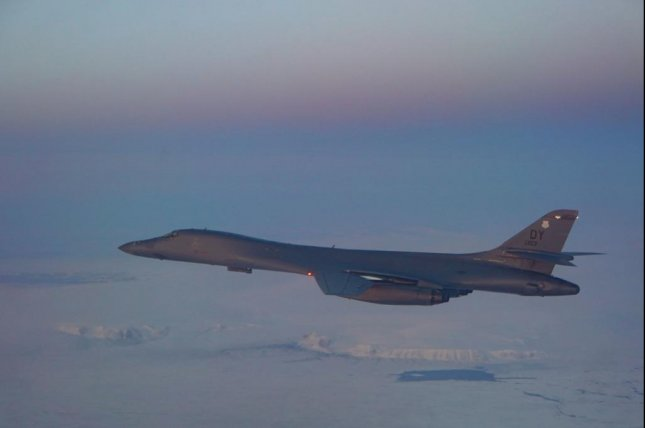 A B-1B Lancer assigned to the 345th Expeditionary Bomb Squadron flies over the Arctic Circle in September. Photo courtesy U.S. Air Force