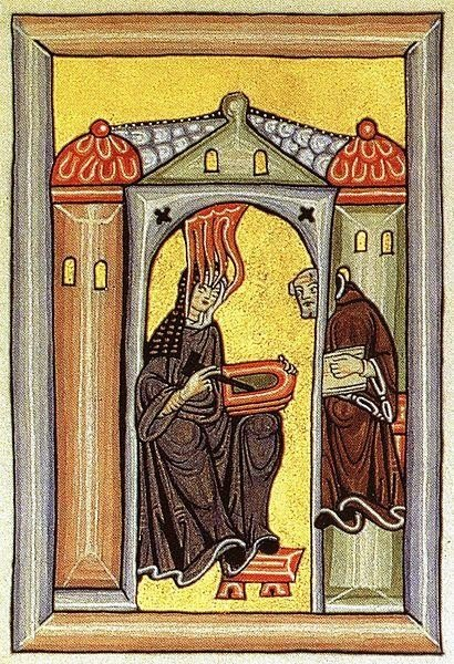 This illumination shows Hildegard von Bingen, Catholicism's newest saint, dictating to her secretary.