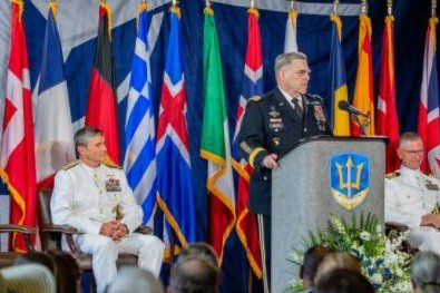 Joint Chiefs chairman Gen. Mark Milley (R) and U.S. Navy Second Fleet commander Vice Adm. John Lewis led the ceremonial opening of NATO's Joint Force Command at Norfolk, Va., on Thursday. Photo courtesy of U.S. Defense Department