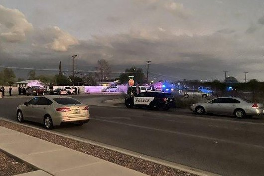Police in Tucson said they are asking the public if anyone knows the location of up to three children linked to the house at the center of Sunday's shootings to contact the authorities. Photo courtesy of Tucson Police Department Sgt. Richard Gradillas/Twitter