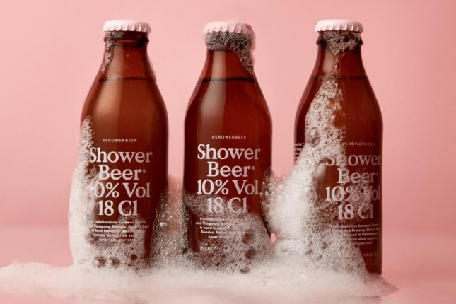 Shower Beer, created by Swedish brewery PangPang and creative firm Snask, was formulated to double as a shower beverage and a hair conditioner. Photo courtesy PangPang/Snask