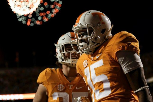 Tennessee wide receiver Jauan Jennings (15) is expected to be sidelined as many as 12 weeks with a dislocated wrist, VolQuest.com reported on Tuesday. Photo courtesy of Rocky Top Insider/Twitter