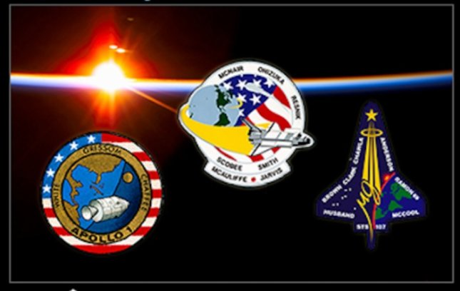 The mission patches of Apollo 1, Challenger and Columbia. Credit: NASA