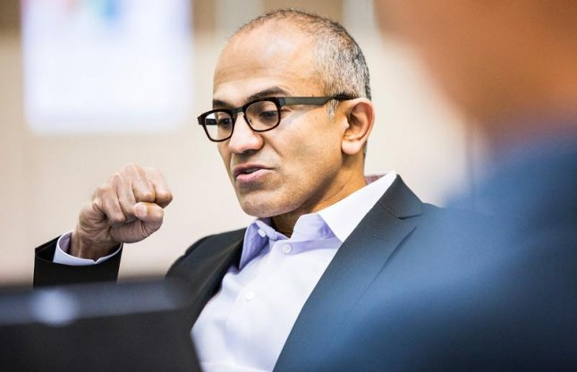 Nadella, in his first public appearance, announced the launch of Office for iPad, which will be available on the App Store starting Thursday. (Credit: Microsoft)