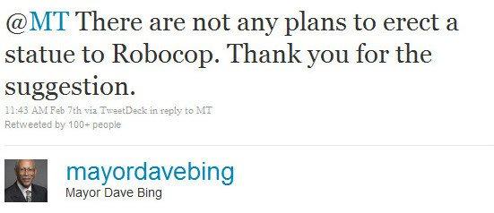 Mayor Dave Bing's initial response to the Robocop idea.