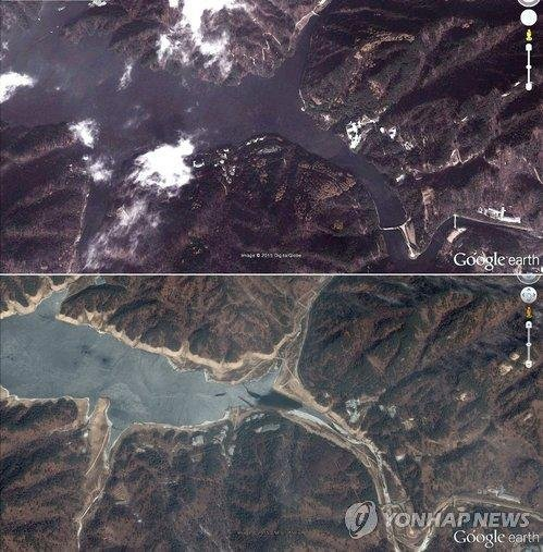 A side-by-side comparison of a lake in Changsong county in North Korea showed the water level was significantly down from 2012 to 2014, in an area where North Korean leader Kim Jong Un visits to enjoy water sports. Photo by Yonhap