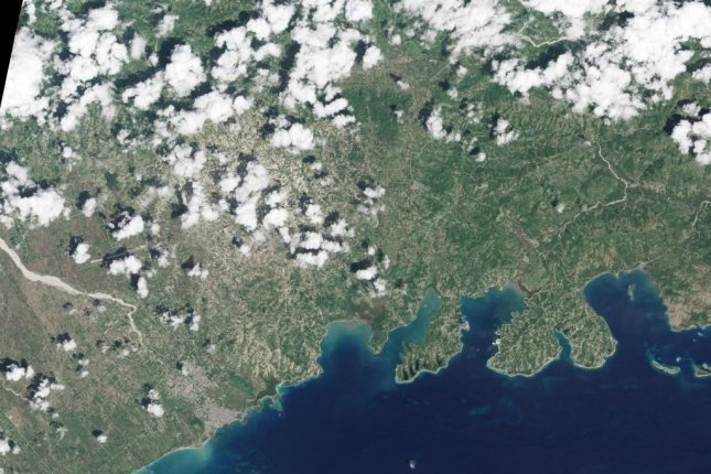 An image taken from NASA's Landsat 8 satellite shows a Haiti coastline On Sept. 26, a week prior to Hurricane Matthew's arrival. Subsequent photos taken on Oct. 12 showed a vastly different picture and underscored the damage brought by the category 4 hurricane. Photo courtesy NASA