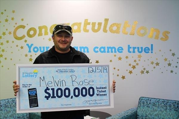 A Tennessee man visiting  North Carolina for the first time won a $100,000 lottery jackpot thanks to a clerk's error. Photo courtesy of the North Carolina Education Lottery