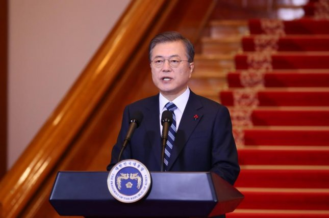 President Moon Jae-in delivered his New Year's address at the presidential office in Seoul on Tuesday, calling for efforts to revitalize the inter-Korean relationship. Photo by Yonhap