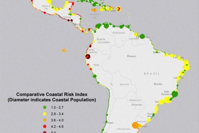 The new map shows coastal communities in Latin America that are especially vulnerable to coastal hazards. Photo by UCSC