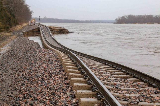 A section of railroad track is shown washed out near Louisville, Neb., on Tuesday. Photo courtesy of BNSF Railroads