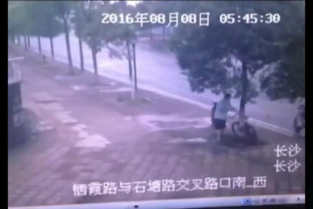 A man in China cuts down a tree to steal a bicycle. Screenshot: Newsflare