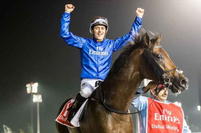 Jockey Christophe Soumillon celebrates after riding Thunder Snow to a front-running victory in Saturday's $10 million Dubai World Cup. Photo courtesy of DRC