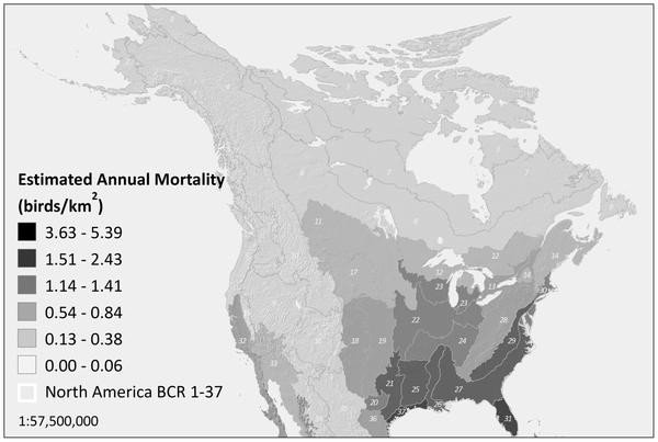 Estimated annual avian mortality from communication towers by Bird Conservation Region. Credit: Longcore et al. PLoS One