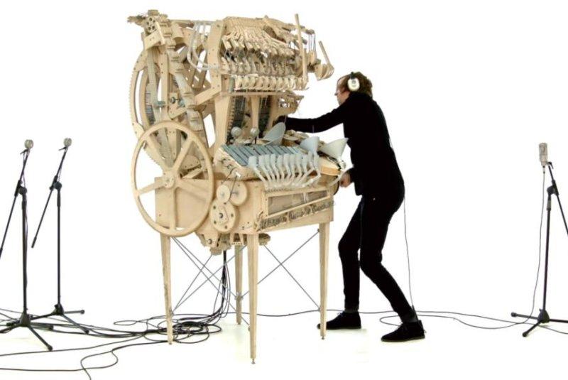 Martin Molin operates his marble music machine. Screenshot: Wintergatan/YouTube