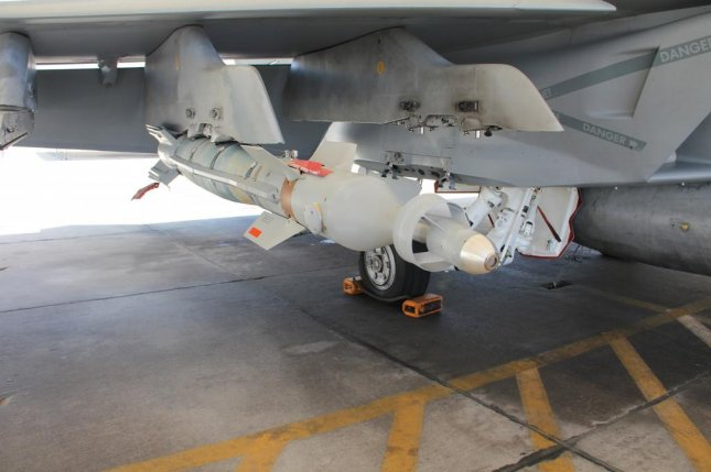 Lockheed Martin's newly-named Paragon bomb on an F/A-18 aircraft, testing of which has been underway for some time. The company said it would start testing Paragon on the F-15 later this year. Photo courtesy Lockheed Martin