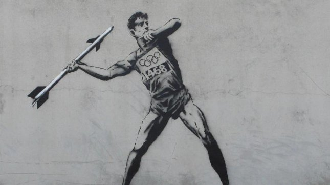 One of Banky's Olympic-themed street art pieces. (Image credit: Banksy.co.uk) Click through for more street art inspired by the Olympics.