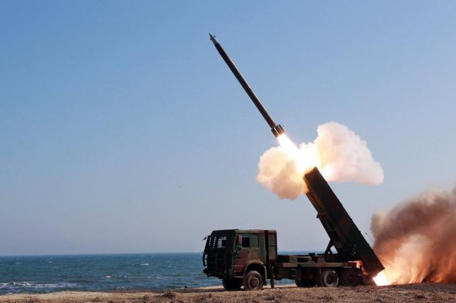 A South Korean military source said movement of road mobile launchers was detected near the North Korean city of Wonsan, according to Yonhap. File Photo by KCNA