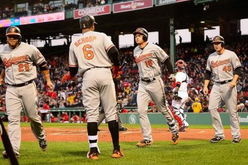 Trey Mancini and the Orioles celebrate after a home run blast. (Baltimore Orioles/Twitter)