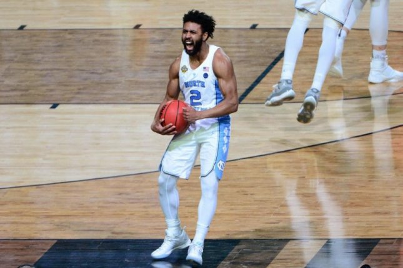 915e239f5465 North Carolina guard Joel Berry II celebrates the Tar Heels  71-65 victory  Tuesday against Gonzaga in the 2017 NCAA Division I Men s Basketball  National ...