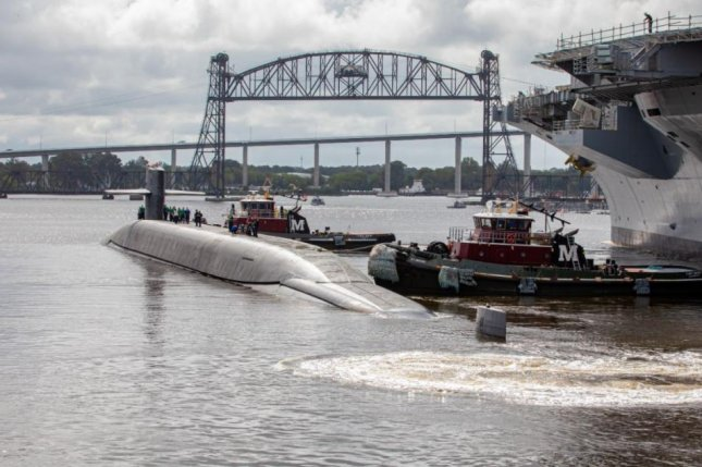 The U.S. Navy submarine USS Wyoming returned to the sea on Friday in Norfolk, Va., after a 27-month overhaul. Photo by Danny De Angelis/Norfolk Naval Shipyard/Naval Sea Systems Command