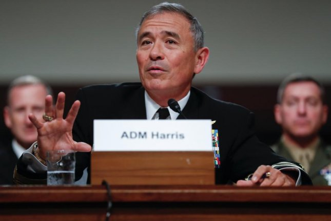 Commander of the U.S. Pacific Command Adm. Harry Harris was never asked to be dismissed, the Chinese foreign ministry said Monday. File Photo by Shawn Thew/EPA