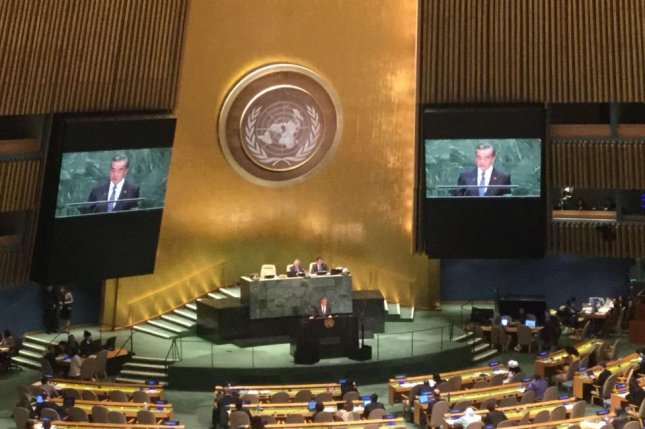 Chinese Foreign Minister Wang Yi said Friday at the 74th U.N. General Assembly Beijing supports a political settlement on the Korean Peninsula. Photo by Elizabeth Shim/UPI