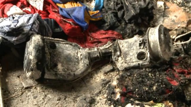 This hoverboard, a self-balancing scooter, was blamed for a Louisiana house fire. WGNO-TV video screenshot