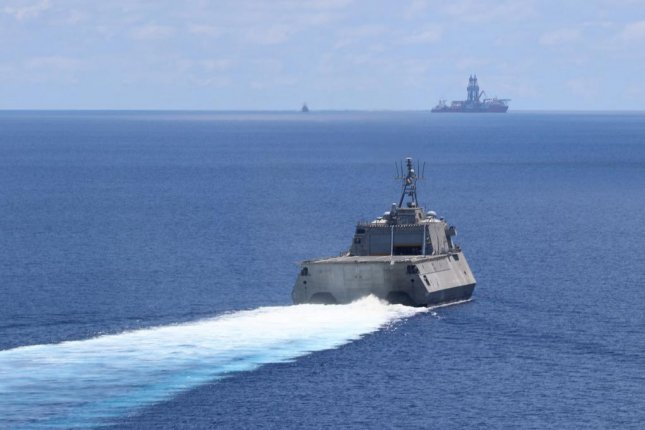 The Independence-variant littoral combat ship USS Montgomery conducts routine operations near Panamanian flagged drillship, West Capella. Montgomery is on a rotational deployment to USINDOPACOM, conducting operations, exercises and port visits throughout the region and working hull-to-hull with allied and partner navies to provide maritime security and stability, key pillars of a free and open Indo-Pacific. Photo courtesyUSINDOPACOM