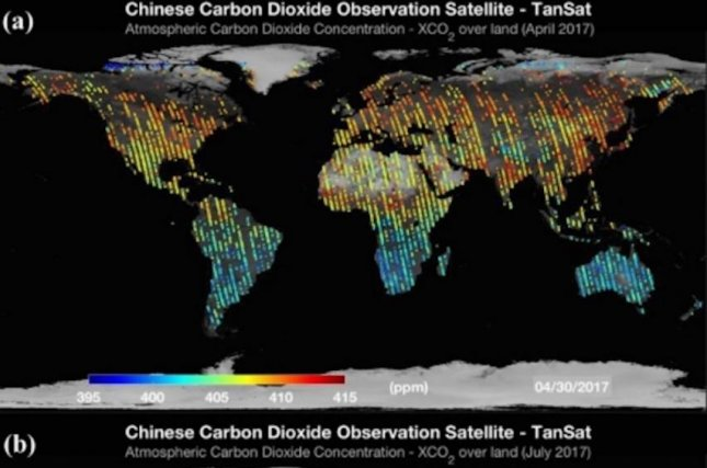 The newly published global CO2 maps show carbon dioxide concentrations over land measured between April and July 2017. Photo by TanSat