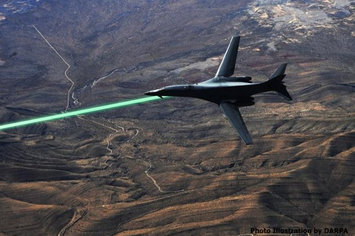 An illustration of a USAF plane firing the HELLADS laser. Illustration by DARPA.