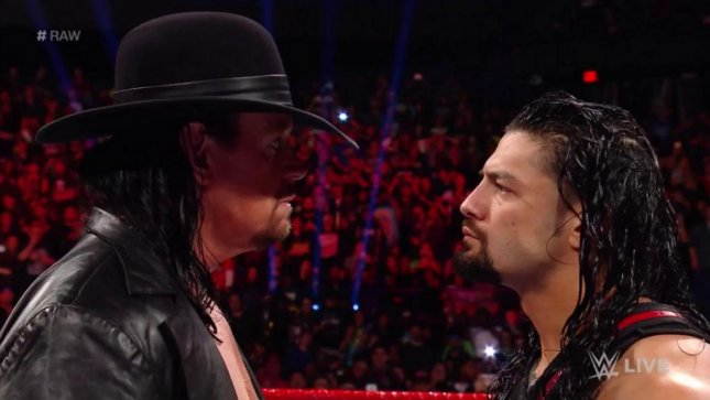 The Undertaker made his presence known to Roman Reigns Monday on Raw. Photo courtesy of WWE/Twitter