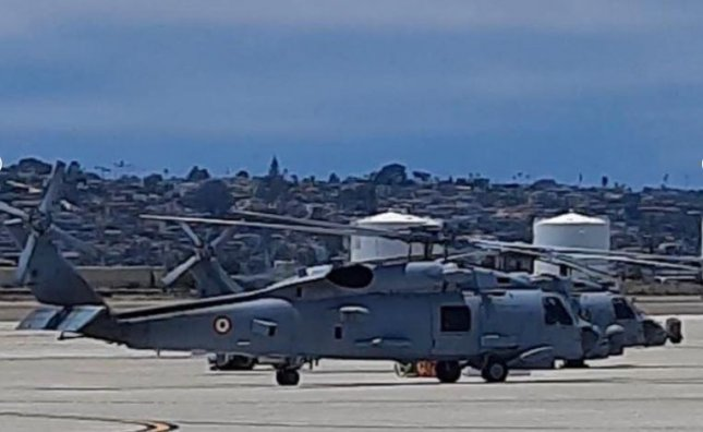 The Indian Naval Fleet formally accepted delivery of its first two MH-60 helicopters in a ceremony at Naval Air Station North Island, Calif. Photo courtesy of Indian navy