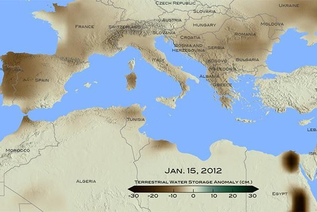 The eastern Mediterranean continues to suffer the worst drought in 900 years. Photo by NASA/Goddard Scientific Visualization Studio