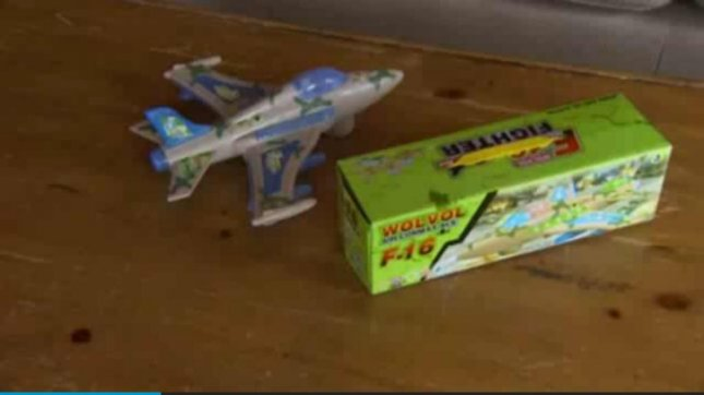 A Whatcom County, Wash., family were shocked when this toy plane played an Islamic prayer instead of jet sounds. KING-TV video screenshot