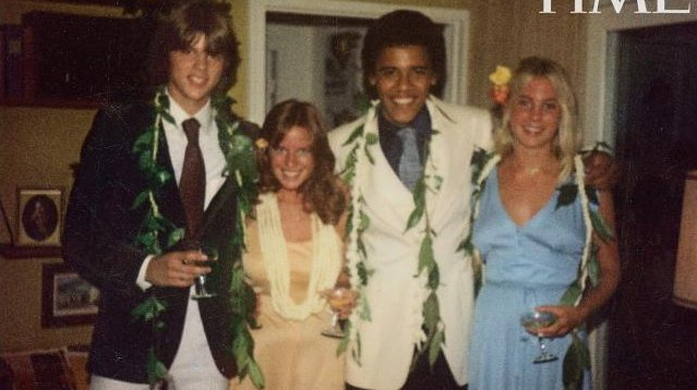 From left to right: Greg Orme, Kelli Allman (nee McCormack), Barack Obama and Megan Hughes. (Kelli Allman/Time/Contact Press Images)