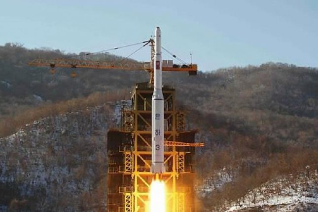 North Korea launching the satellite Kwangmyongsong-4 in early February. Pyongyang stated on Tuesday a new satellite rocket engine was tested as Kim provided guidance on the site. File Photo by KCNA
