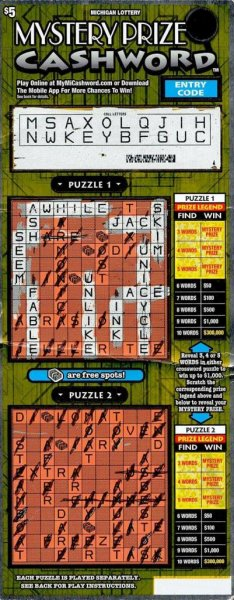 A St. Joseph County, Mich., man told Michigan Lottery officials that a clerk had to talk him into buying the Mystery Prize Cashword scratch-off ticket that earned him a $300,000 jackpot. Photo courtesy of the Michigan Lottery