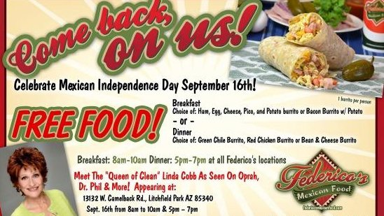Federico's Mexican Food is offering free burritos on Mexican Independence Day to bring in customers and recover losses from an E. coli outbreak that sickened 72. / Federico's