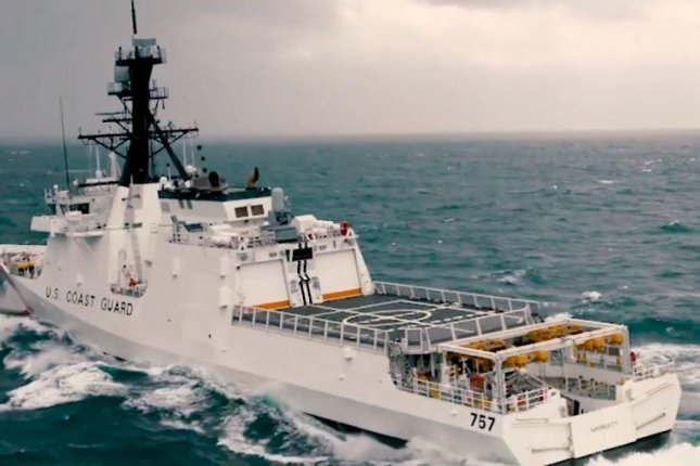 The Midgett, a U.S. Guard Guard Legend-class national security cutter, underwent two full days of acceptance trials testing in the Gulf of Mexico. Screenshot from Coast Guard video