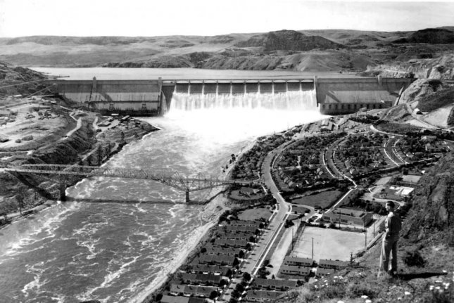 On March 22, 1941, the Grand Coulee Dam on the Columbia River began producing electrical power for the Pacific Northwest. Photo courtesy Bureau of Reclamation