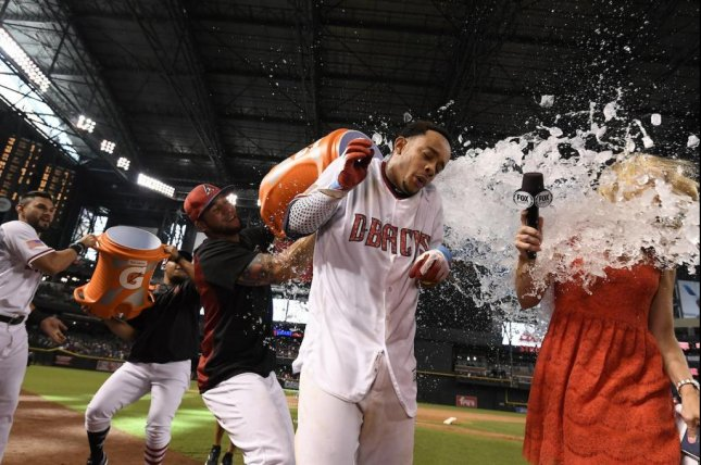 Ketel Marte lined a single to deep left-center field in the bottom of the ninth inning to drive in Brandon Drury with the winning run in the Diamondbacks' 4-3 walk-off victory over the Colorado Rockies at Chase Field on Sunday. Photo courtesy of Arizona Diamondbacks/Twitter