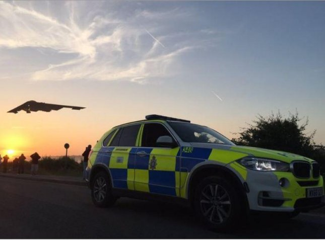 A U.S. Air Force B-2 stealth bomber was one of three B-2 that landed on Tuesday at RAF Fairfield in Britain. Photo courtesy of Gloucestershire Constabulary