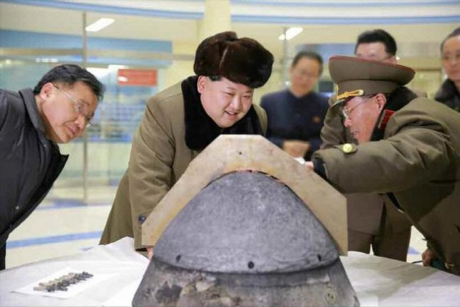 Kim Jong Un looks at what is supposed to be the warhead of a North Korea missile in March 2016. North Korea is likely to test-launch a midrange Musudan missile because the rocket needs improvements, according to South Korean press reports. File Photo by KCNA