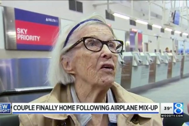 Helen Wheeker, 96, and her 89-year-old husband accidentally boarded the wrong flight in Fort Lauderdale, Fla., and ended up in New York state, near the Canadian border, instead of their intended destination in Michigan. Screenshot: WOOD-TV
