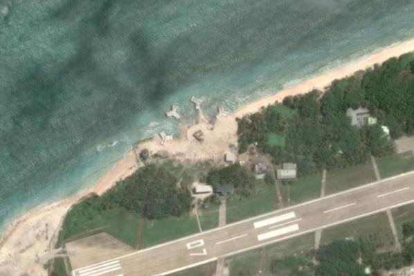 Satellite images taken in 2016 show construction on Taiwan-occupied Taiping Island in the South China Sea. Taiwan's defense ministry is now proposing more artillery on the island. File Image courtesy of Google Maps